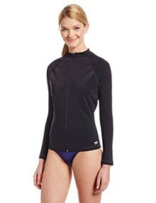 Speedo Women's PowerFLEX Long Sleeve Zip-Front Rashguard Top