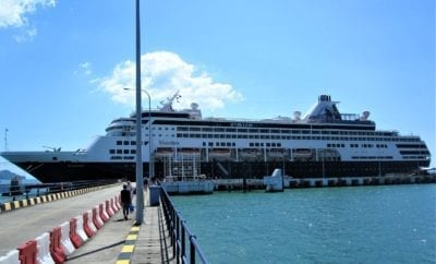 This is a photo of the ship as you board the ship from the dock.